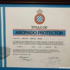 Coleccionismo deportivo: R.C.D. ESPAÑOL - TITULO DE ABONADO PROTECTOR ENMARCADO - 1.982. Lote 103493839