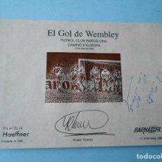 Coleccionismo deportivo: TARJETA BARNAFIL'94 (EL GOL DE WEMBLEY - F.C.BARCELONA) R. KOEMAN (DEDICADA Y FIRMADA POR L. KUBALA). Lote 105145423