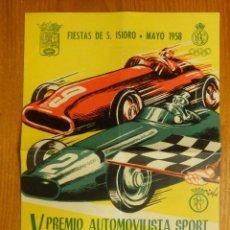 Coleccionismo deportivo: PROGRAMA - V PREMIO AUTOMOVILISTA SPORT - PRIMER PREMIO DE MADRID - RALLY CASA DE CAMPO 25 MAYO 1958. Lote 107256107