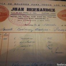 Coleccionismo deportivo: FABRICA DE BALONES. FACTURA 1935. Lote 107858992