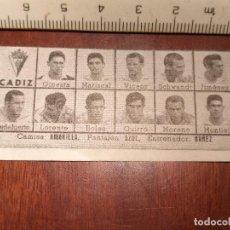 Coleccionismo deportivo: 1960 ALINEACION EQUIPO FUTBOL - 11 JUGADORES Y ESCUDO - CLUB - CADIZ. Lote 109305955