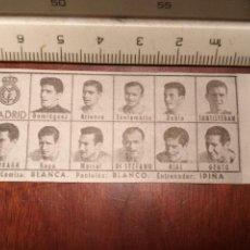 Coleccionismo deportivo: 1960 ALINEACION EQUIPO FUTBOL - 11 JUGADORES Y ESCUDO - CLUB - REAL MADRID. Lote 109306275