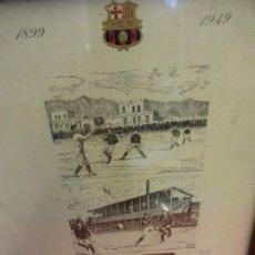Coleccionismo deportivo: MENU ORIGINAL BAMQUETE CINCUENTENARIO DEL CF BARCELONA. AÑO 1949. ENMARCADO VISIBLE DOS CARAS. Lote 109694339