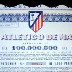 Coleccionismo deportivo: OBLIGACIÓN ATLÉTICO DE MADRID. ESTADIO METROPOLITANO. FÚTBOL. ACCIÓN. AÑO 1958. Lote 186328481