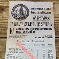 Coleccionismo deportivo: SEVILLA, CARTEL XI VUELTA CICLISTA A SEVILLA,1969, ETAPA HUELVA-SEVILLA,100X230MM. Lote 110534075