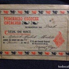 Coleccionismo deportivo: CABOT CARNET RICARDO CABOT 1904 FEDERACIO ESCOLAR CATALANA FUTBOL CLUB FC BARCELONA F.C BARÇA CF. Lote 110583203