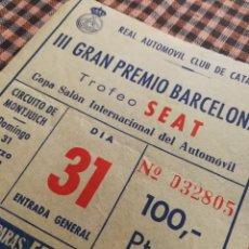 Coleccionismo deportivo: ENTRADA 3º GRAN PREMIO BARCELONA- TROFEO SEAT (CIRCUITO DE MONTJUICH), 1968. RACC- 100PTAS.. Lote 110675667