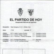 Coleccionismo deportivo: FOLLETO OFICIAL PALCO PARTIDO R.ZARAGOZA-ATHLETIC CLUB (LIGA 00-01). Lote 110897151