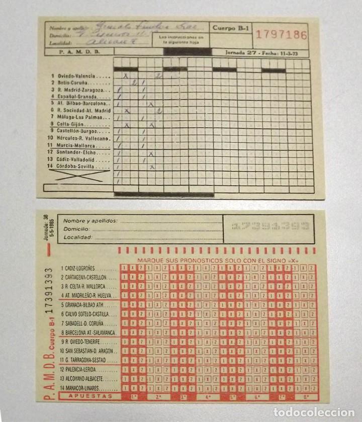 QUINIELAS 1973 Y 1985 (Coleccionismo Deportivo - Documentos de Deportes - Otros)