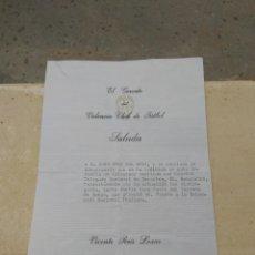 Coleccionismo deportivo: TELEGRAMA DEL VALENCIA.C.F A SU JUGADOR JUAN CRUZ SOL - CON REFERENCIAS VICENTE PERIS - SAMARANCH. Lote 111698887