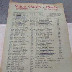 Coleccionismo deportivo: HOJA VUELTA CICLISTA ESPAÑA CLASIFICACIÓN ETAPA TARRAGONA - VALENCIA AÑOS 50 - ÉPOCA BAHAMONTES -. Lote 111701951