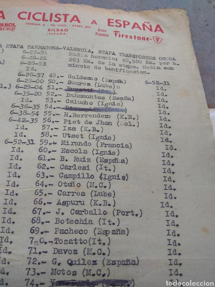 Coleccionismo deportivo: Hoja Vuelta Ciclista España Clasificación Etapa Tarragona - Valencia años 50 - Época Bahamontes - - Foto 3 - 111701951