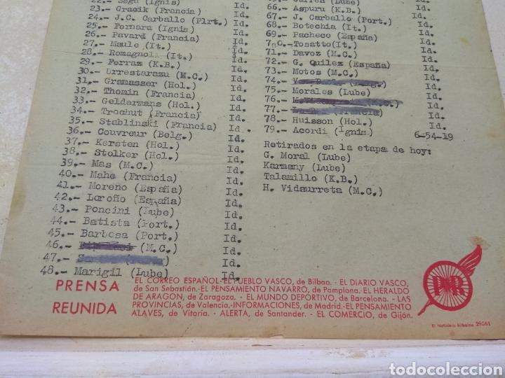 Coleccionismo deportivo: Hoja Vuelta Ciclista España Clasificación Etapa Tarragona - Valencia años 50 - Época Bahamontes - - Foto 4 - 111701951