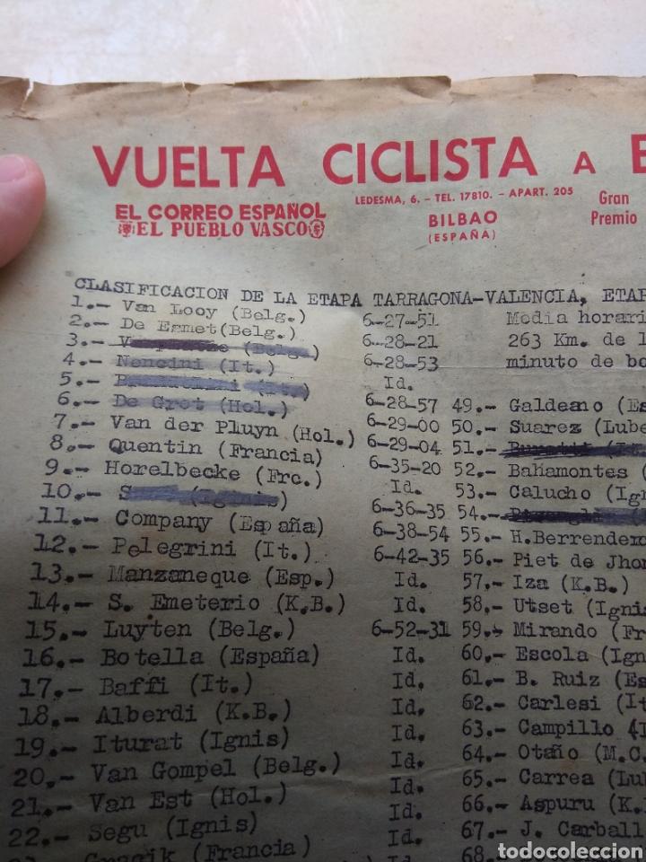 Coleccionismo deportivo: Hoja Vuelta Ciclista España Clasificación Etapa Tarragona - Valencia años 50 - Época Bahamontes - - Foto 5 - 111701951