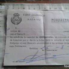 Coleccionismo deportivo: BADAJOZ - 1976 - TIRO OLIMPICO - ENTRADA FORASTEROS. Lote 112288623