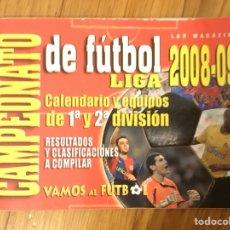 Coleccionismo deportivo: FÚTBOL 2008-2009 CALENDARIO 1ª Y 2ª DIVISIÓN.. Lote 112661860