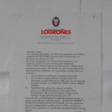 Coleccionismo deportivo: HOJA PARA CAPTACION DE SOCIOS DEL CLUB DEPORTIVO LOGROÑES. 1991/1992. MARCOS EGUIZABAL. TDKR38. Lote 113892383