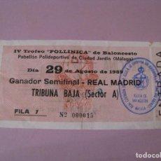 Coleccionismo deportivo: ENTRADA BALONCESTO IV TROFEO POLLINICA. GANADOR SEMIFINAL - REAL MADRID. 29 AGOSTO 1989.. Lote 114393367