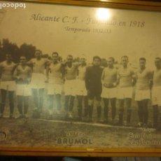 Coleccionismo deportivo: ALICANTE FUTBOL CLUB PLANTILLA DE 1933 ANTIGUA FOTO CONMEMORATIVA PUBLICITARIO PUBLICADO X BRUMOL. Lote 117697207