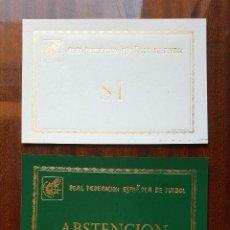 Coleccionismo deportivo: LOTE 3 TARJETAS DE LA REAL FEDERACIÓN ESPAÑOLA DE FUTBOL. Lote 118014607