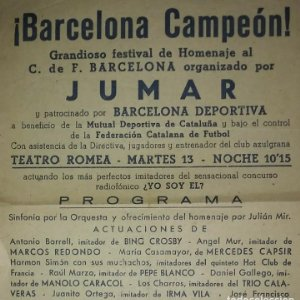 Cartel BARCELONA CAMPEÓN Grandioso festival de Homenaje al FC BARCELONA Teatro romea 29x16