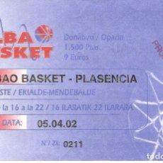 Coleccionismo deportivo: ENTRADA BALONCESTO, BILBAO BASKET-PLASENCIA, 2002. Lote 118370667