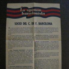 Coleccionismo deportivo: FUTBOL CLUB BARCELONA -LA OPINION BARCELONISTA - FOLLETO - VER FOTOS - (V-14.328). Lote 118576479
