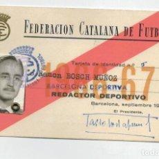 Coleccionismo deportivo: CARNET DE REDACTOR DEPORTIVO DE LA FEDERACION CATALANA DE FUTBOL - 1966 1967. Lote 121040871