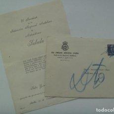 Coleccionismo deportivo: FEDERACION MOTOCICLISTA ESPAÑOLA : SOBRE E INVITACION DUEÑO DE UNA LUBE-NSU A ACTO. 1957. Lote 122125671