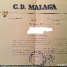 Coleccionismo deportivo: SOBRE Y CONTESTACION CLUB DEPORTIVO MALAGA FECHA 19/06/1967. Lote 122319567