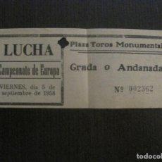 Coleccionismo deportivo: ENTRADA LUCHA LIBRE - AÑO 1958 - BARCELONA -VER FOTOS-(V-14.708). Lote 122789655