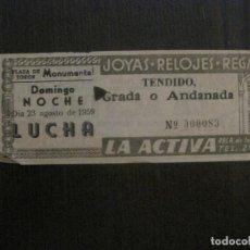 Coleccionismo deportivo: ENTRADA LUCHA LIBRE - BARCELONA- AÑO 1959 -VER FOTOS-(V-14.715). Lote 122790695