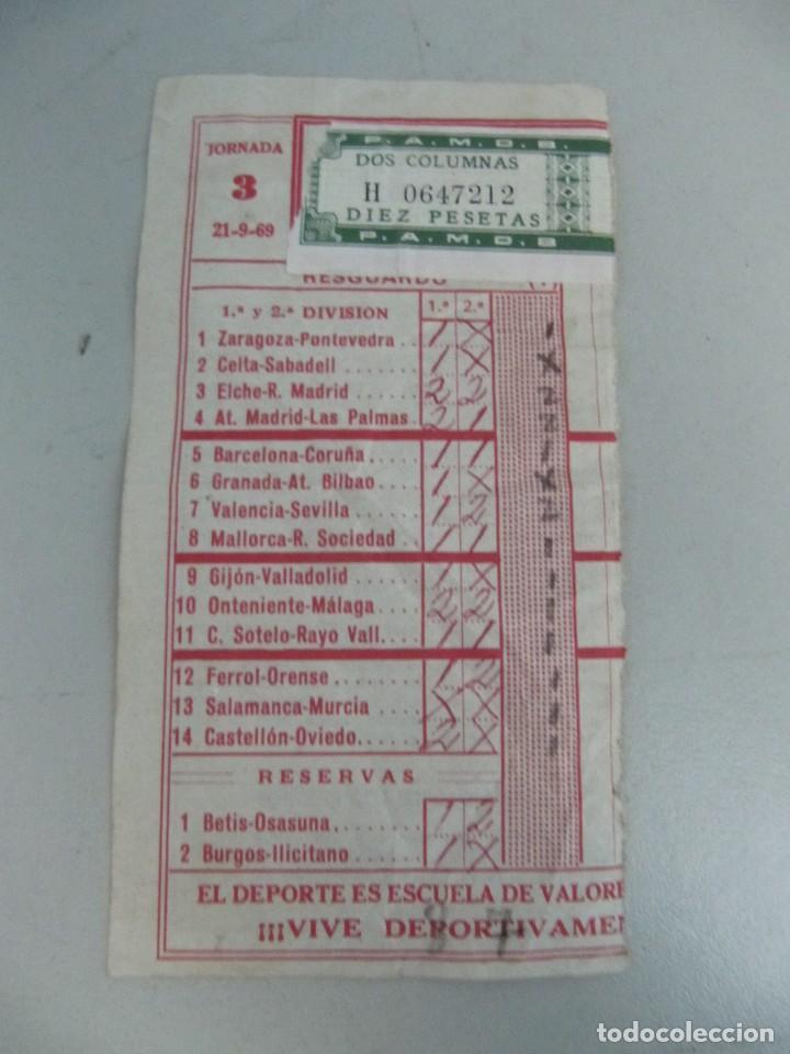 RESGUARDO DE QUINIELA DE FÚTBOL AÑO 1969 - JORNADA 3 (Coleccionismo Deportivo - Documentos de Deportes - Otros)