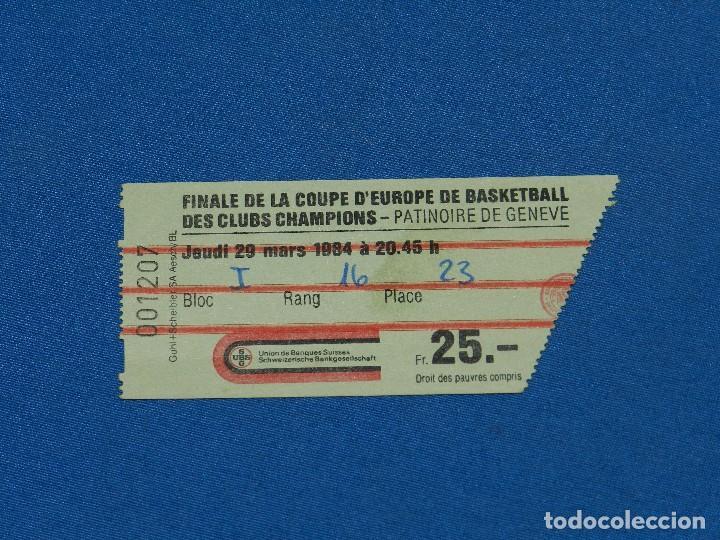 ENTRADA BASKET - FC BARCELONA - BANCO DI ROMA , FINAL COPA DE EUROPA JEUDI 29 MARS 1984, FINAL (Coleccionismo Deportivo - Documentos de Deportes - Otros)