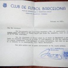 Coleccionismo deportivo: CARTA RECORDATORIO PAGO ABONO NUEVO CAMPO . CAMP NOU FUTBOL CLUB BARCELONA BARÇA . 1957. Lote 128764495