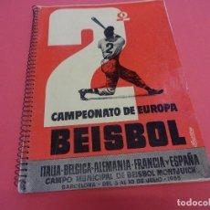 Coleccionismo deportivo: CAMPEONATO EUROPA BEISBOL. MONTJUICH. BARCELONA. JULIO DE 1955. PROGRAMA OFICIAL. BISCUTER-MONTESA. Lote 128989739