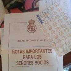 Coleccionismo deportivo: REAL MADRID - CUOTAS DE SOCIOS ENERO 1990. Lote 129590111