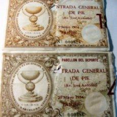 Coleccionismo deportivo: 2 ENTRADA X CAMPEONATO DEL MUNDO Y XX EUROPA HOCKEY SOBRE PATINES 1954 . Lote 131307391
