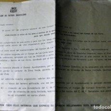 Coleccionismo deportivo: CARTA CLUB FUTBOL BARCELONA BARÇA A LOS SOCIOS REFERENDUM VENTA O NO DEL CAMPO DE LAS CORTS AÑOS 50. Lote 131383574