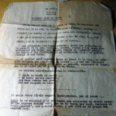 Coleccionismo deportivo: CURIOSIDAD CARTA ESQUELA FALLECIMIENTO VALENCIA CLUB FUTBOL DESPUES DE DERROTA CON AT MADRID 1953. Lote 131383790