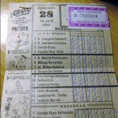 Coleccionismo deportivo: RESGUARDO BOLETO QUINIELA DE FUTBOL 14 ABRIL 1968 , PUBLICIDAD LOS PICAPIEDRA JORNADA 28. Lote 131384950