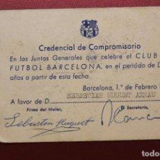 Coleccionismo deportivo: C.F. BARCELONA, CREDENCIAL DE COMPROMISARIO, 1971. Lote 131903658