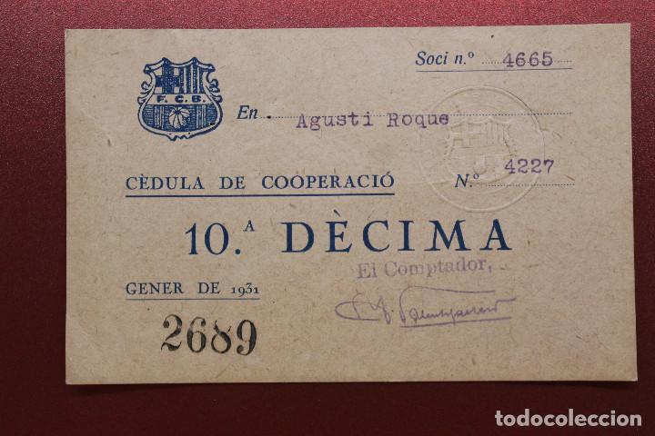 CÈDULA DE COOPERACIÓ F.C.BARCELONA, GENER, ENERO, 1931 (Coleccionismo Deportivo - Documentos de Deportes - Otros)
