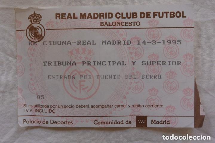 ENTRADA REAL MADRID BALONCESTO 14 MARZO 1995 (Coleccionismo Deportivo - Documentos de Deportes - Otros)
