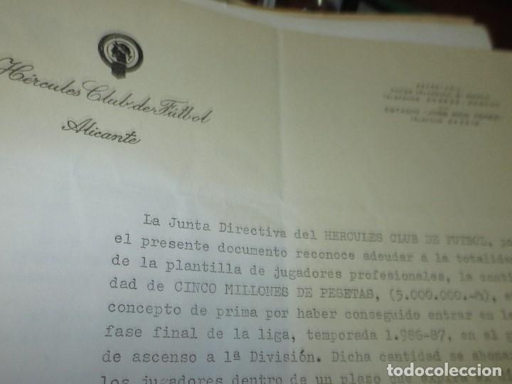 DOCUMENTO CLUB FUTBOL HERCULES ALICANTE PAGO A PLANTILLA DE 5.000000 PTS (Coleccionismo Deportivo - Documentos de Deportes - Otros)