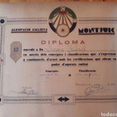 Coleccionismo deportivo: PRECIOS DIPLOMA LLORENÇ CABROL AGRUPACIÓ MONTJUIC PRECURSOR PIONER CICLISTA ANYS 30 REPÚBLICA. Lote 134319705