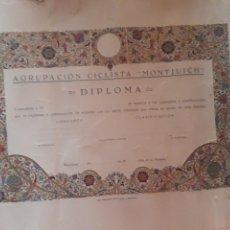 Coleccionismo deportivo: DIPLOMA AGRUPACION CICLISTA MONTJUIC MONTJUICH ELZEVERIANA CICLISMO. Lote 134320775
