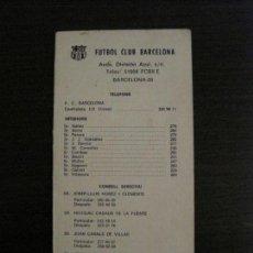 Coleccionismo deportivo: TARJETA INFORMATIVA DEL FC BARCELONA - VER FOTOS - (15.039). Lote 136410650