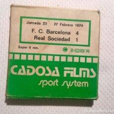 Coleccionismo deportivo: PELÍCULA SUPER 8 MM F.C. BARCELONA 4 - REAL SOCIEDAD 1 - JORNADA 23 - 27 / 2 / 1974 (NOU CAMP). Lote 136562458
