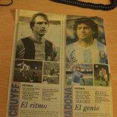 Coleccionismo deportivo: RECORTE DEL DIARIO DEPORTIVO SPORT .JOHANN CRUYFF Y DIEGO ARMANDO MARADONA. Lote 137316074